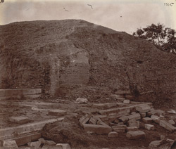 Front view of ruins of the Baladitya Temple, Nalanda